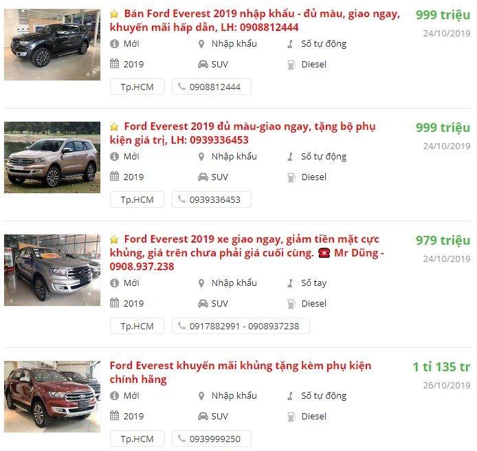 Ford Everest2019 có khuyến mại gì?