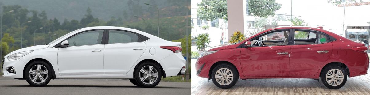 So sánh xe Hyundai Accent 2019 và Toyota Vios 2019 về thiết kế thânxe.