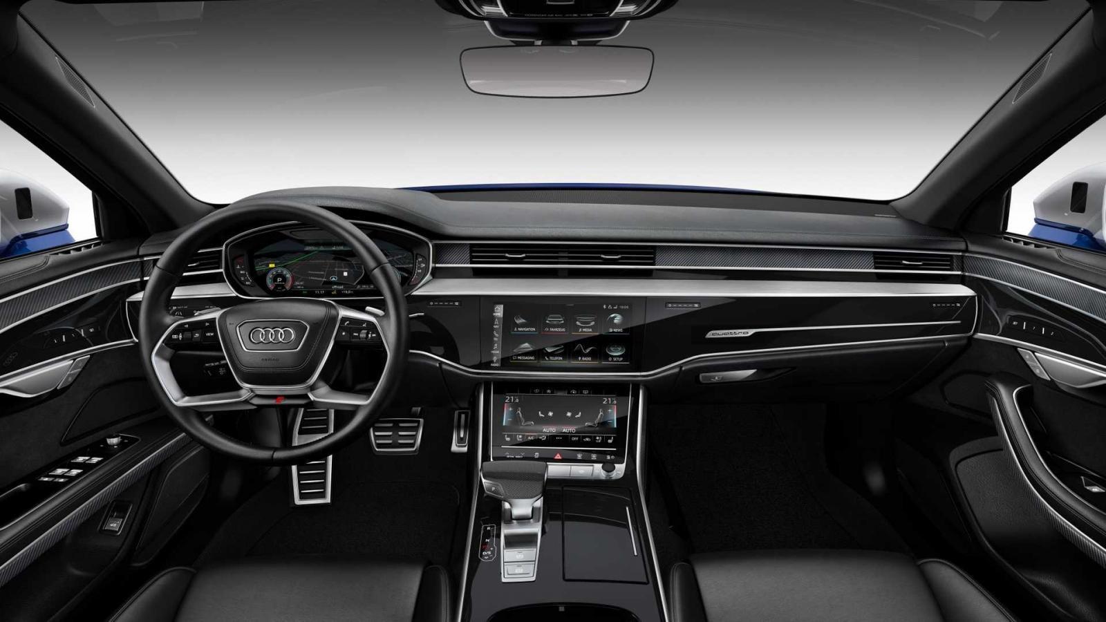 Đánh giá xe Aud S8 2020 về bảng táp-lô.