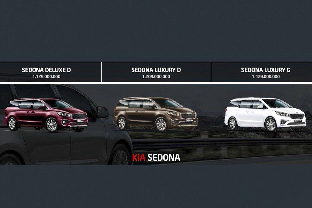 Bảng giá và phiên bản của Kia Sedona 2019.