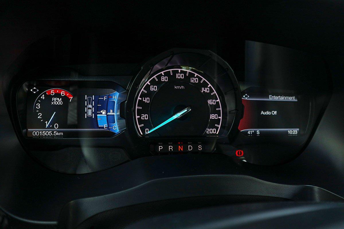 Đánh giá xe Ford Everest Titanium 2.0L Bi-Turbo 2019: bảng đồng hồ.