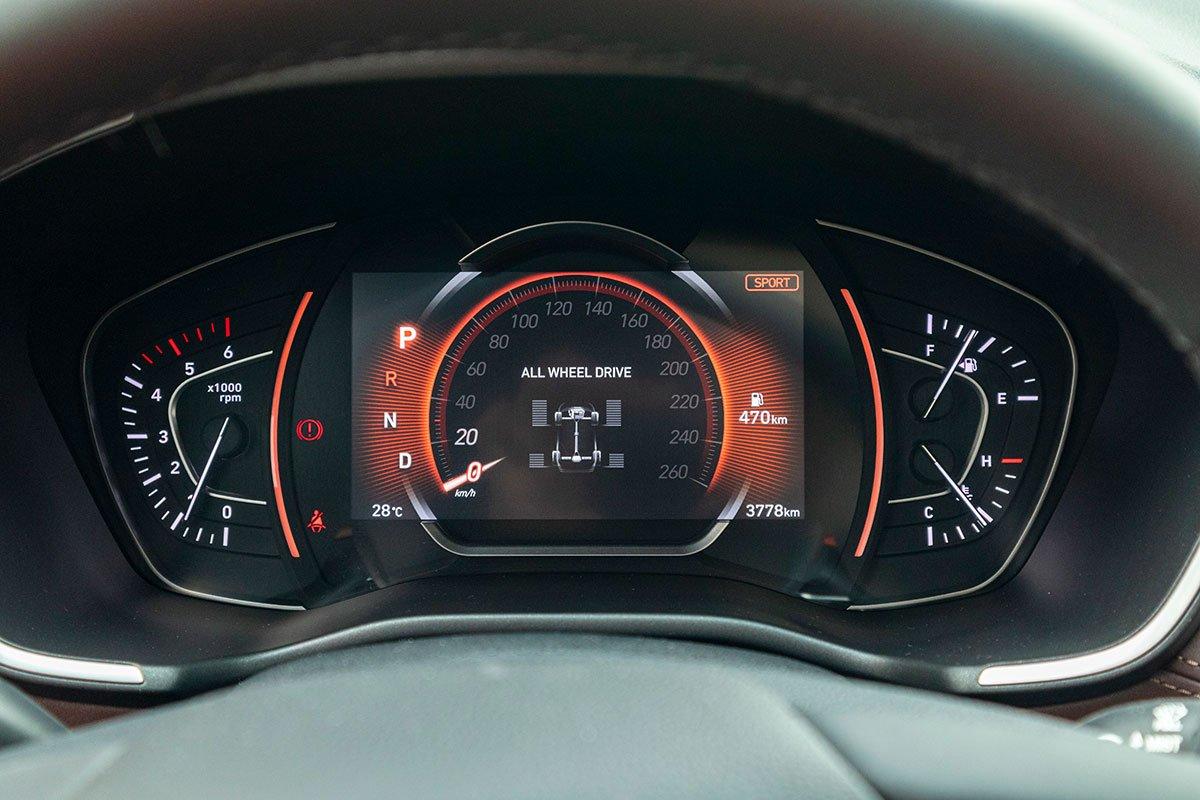 Đánh giá xe Hyundai Santa Fe 2019: Bảng đồng hồ 1.