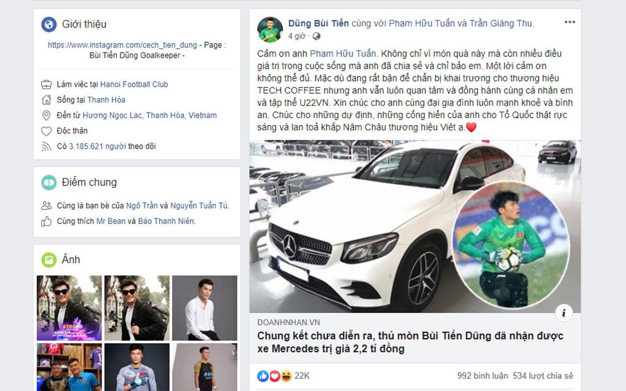 Thủ môn Bùi Tiến Dũng xác nhận được tặng chiếc Mercedes trị giá 2,2 tỷ đồngs