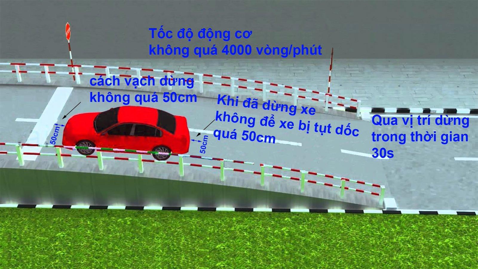 """Kinh nghiệm thi bằng lái xe: Vượt qua bài thi """"Dừng và khởi hành xe ngang dốc""""a"""