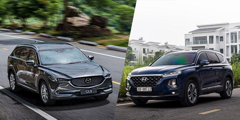So sánh xe Mazda CX-8 2019 và Hyundai Santa Fe 2019.