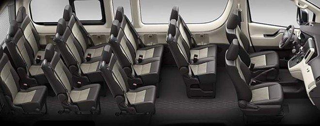 Hệ thống ghế ngồi trên xe Toyota Hiace 2020 bọc nỉ hoàn toàn a1