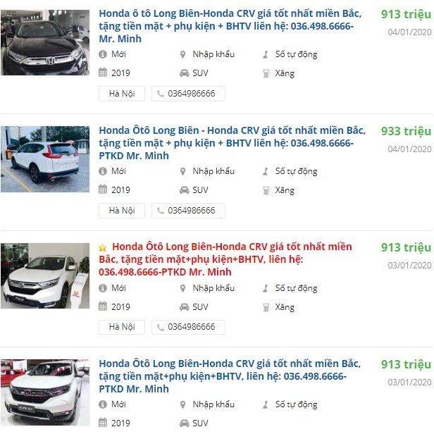 Honda CR-V giảm giá tại đại lý a1