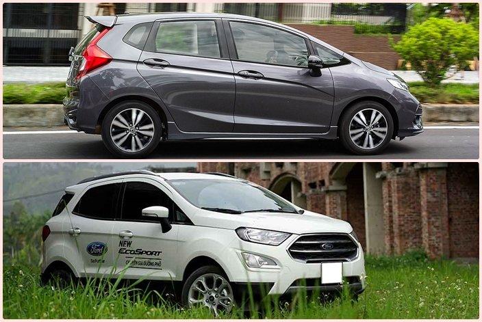 Ngoại thất của Honda Jazz đậm chất thể thao,cònFord EcoSport mềm mại, thanh lịch a1