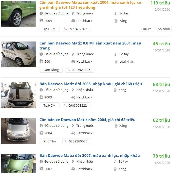 Daewoo Matiz có còn đáng mua, giá xe Matiz cũ tại Việt Nam hiện nay 4a