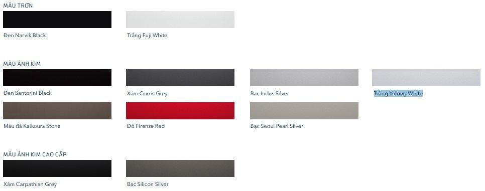 Ảnh bảng màu sắc xe Land Rover Range Rover Evoque 2020