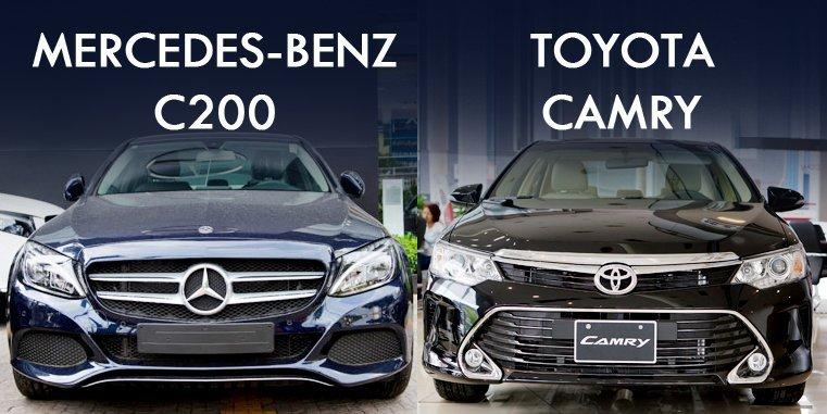 So sánh xe Mercedes C200 với Toyota Camry 2020