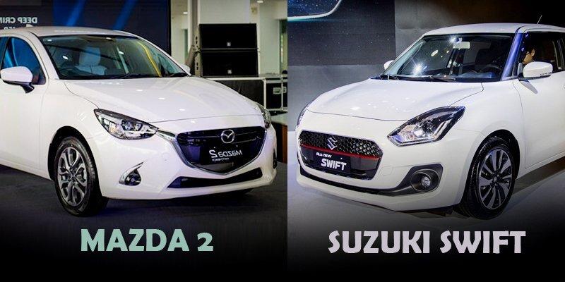 So sánh xe Suzuki Swift với Mazda 2 2019