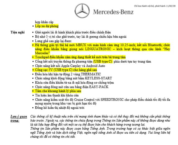Thông số kỹ thuật Mercedes-Benz GLC 200 2020 tại Việt Nam