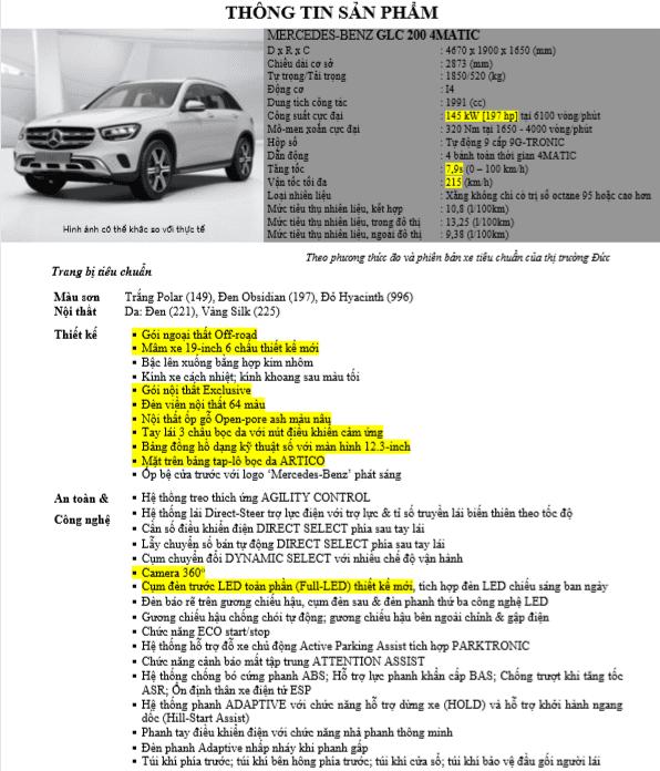 Thông số kỹ thuậtMercedes-Benz GLC 200 4MATIC 2020 tại Việt Nam