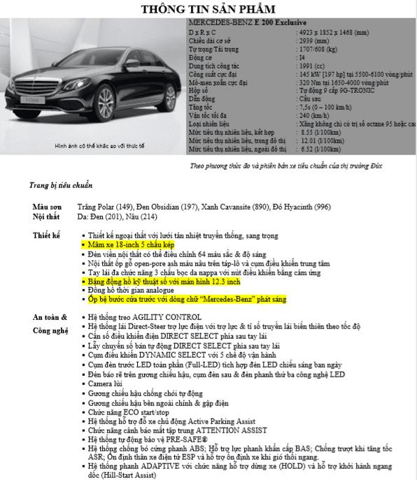 Thông số kỹ thuậtMercedes-Benz E200 Exclusive 2020tại Việt Nam 1