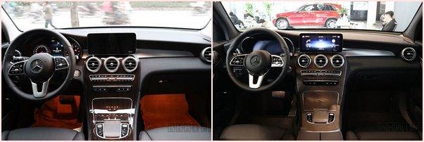 Nội thất xeMercedes-Benz GLC200 (bên trái)và 200 4Matic (bên phải) 1