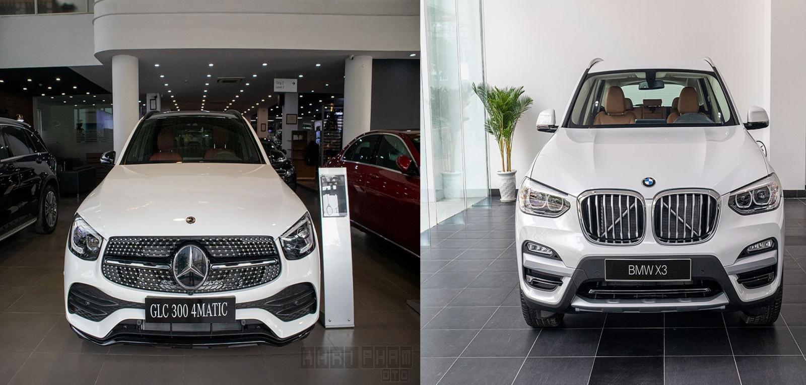 Ảnh chụp trước xe Mercedes-Benz GLC 300 2020 và BMW X3 2020