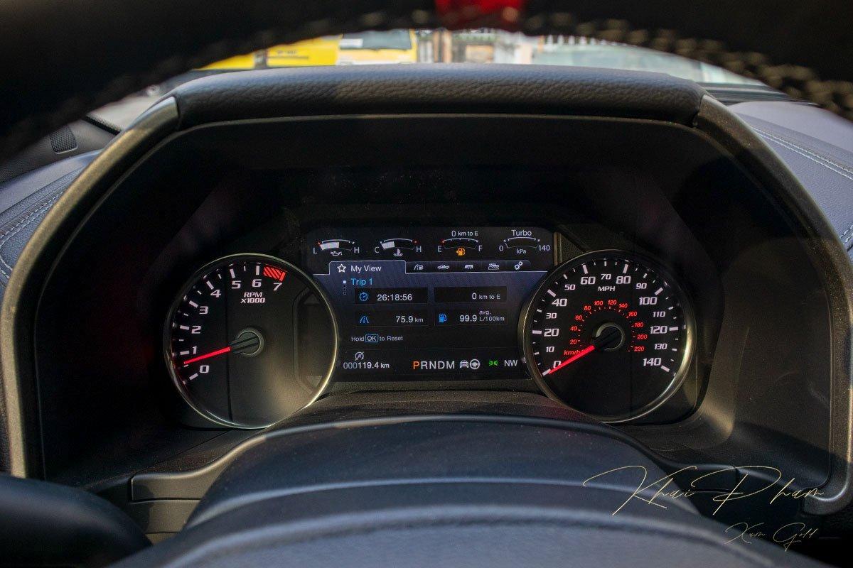 Ảnh chụp màn hình sau lái xe Ford F-150 Raptor Black Edition 2020.