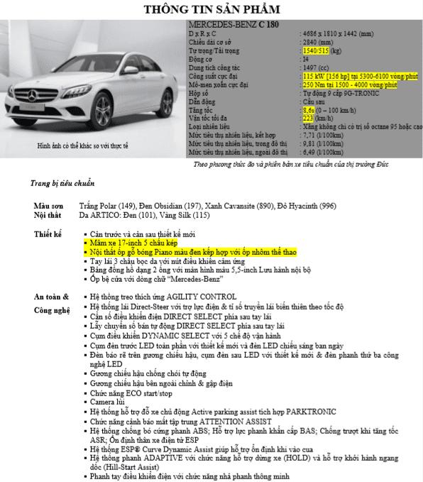 Thông số kỹ thuậtMercedes-Benz C180 2020 tại Việt Nam