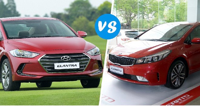 So sánh xe Kia Cerato 2018 với Hyundai Elantra 2018
