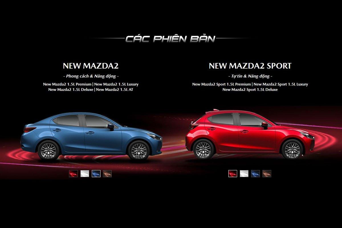 Các phiên bản và màu sắc ngoại thất của Mazda 2 2020.