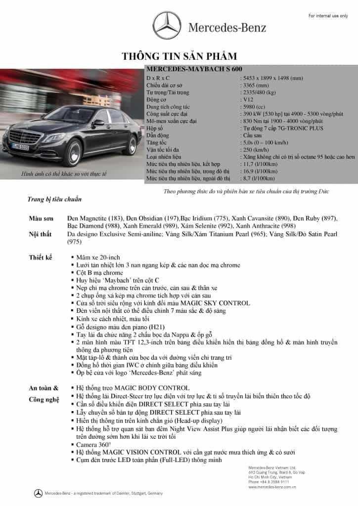 Thông số kỹ thuật củaMercedes Maybach S600 2020