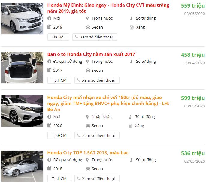 Giá bán xe Honda City 2020