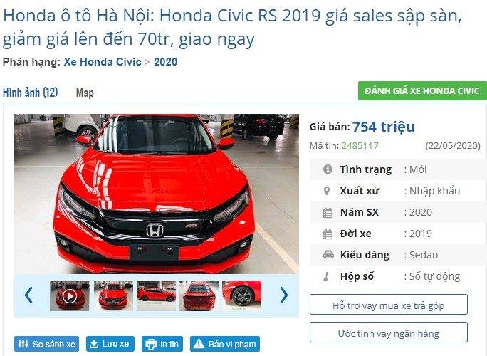 """Động thái nàycho thấy các đại lý phân phối Honda Civickhông còn kiên nhẫn """"ôm hàng tồn"""". 1"""