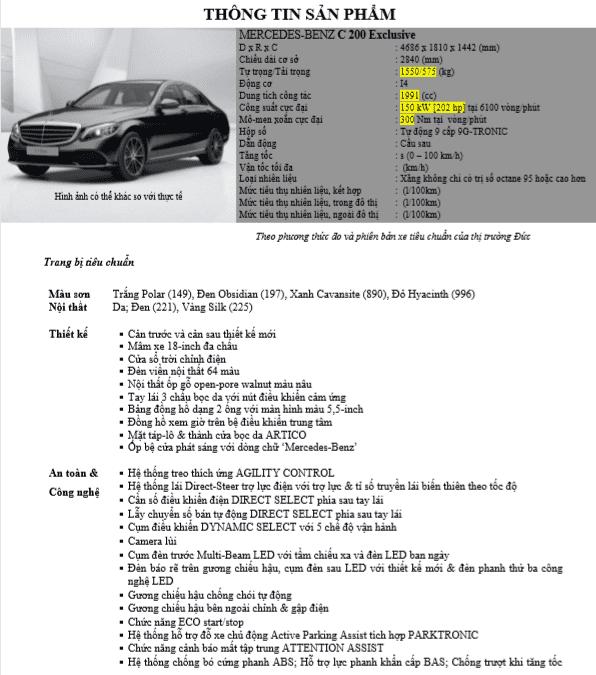 Thông số kỹ thuật Mercedes C200 2021 1.