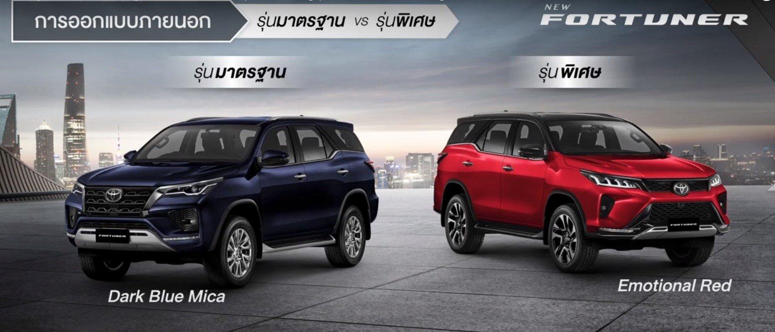 So sánh thân xe Toyota Fortuner 2021 bản tiêu chuẩn và bản Legender...