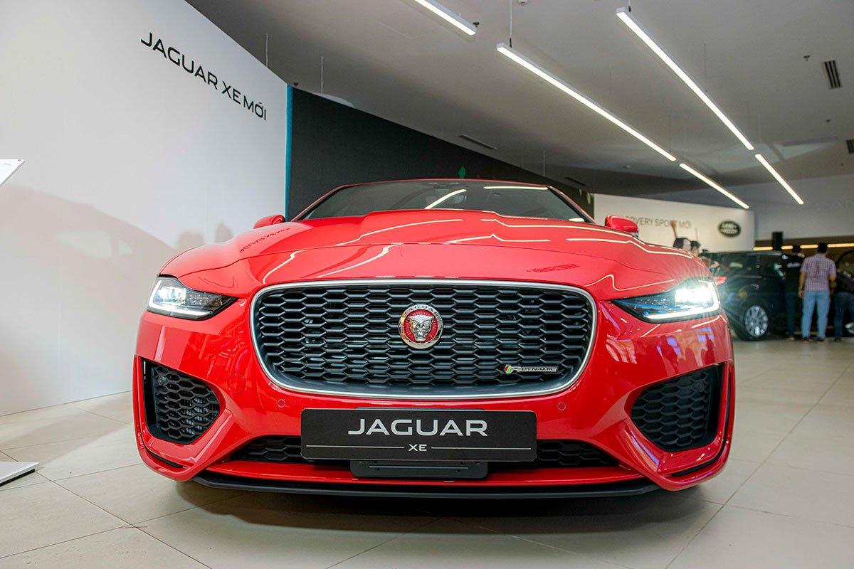 Đầu xe Jaguar XE nổi bật sự mạnh mẽ.