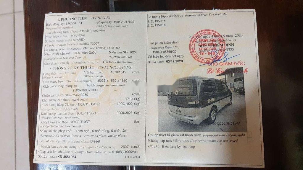 Bán Hyundai Starex đời 1999, màu xanh lam, xe nhập, bán tải 1 tấn (9)