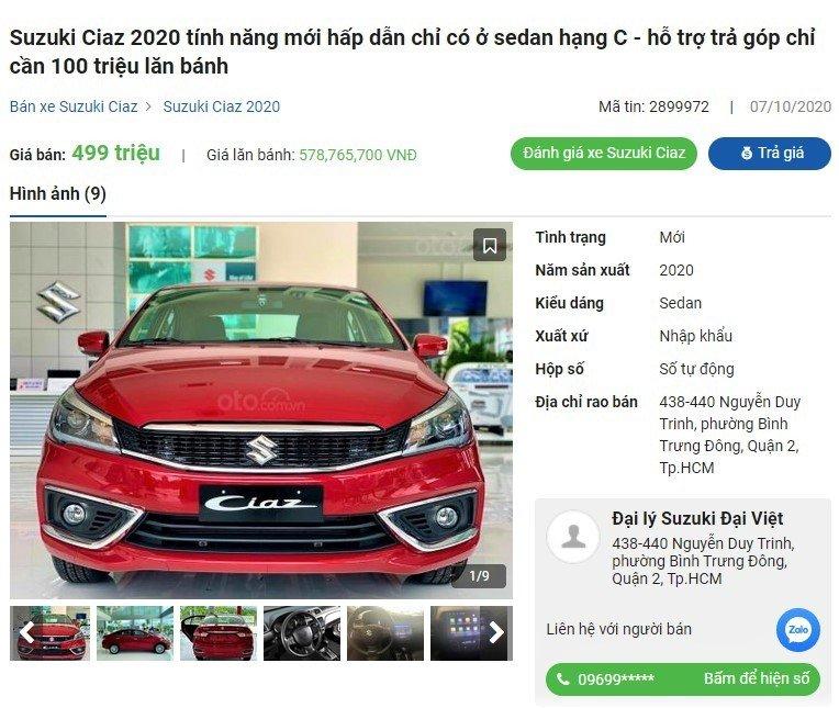 Đại lý bất ngờ giảm giá Suzuki Ciaz 2020 chỉ sau hơn 1 tuần ra mắt
