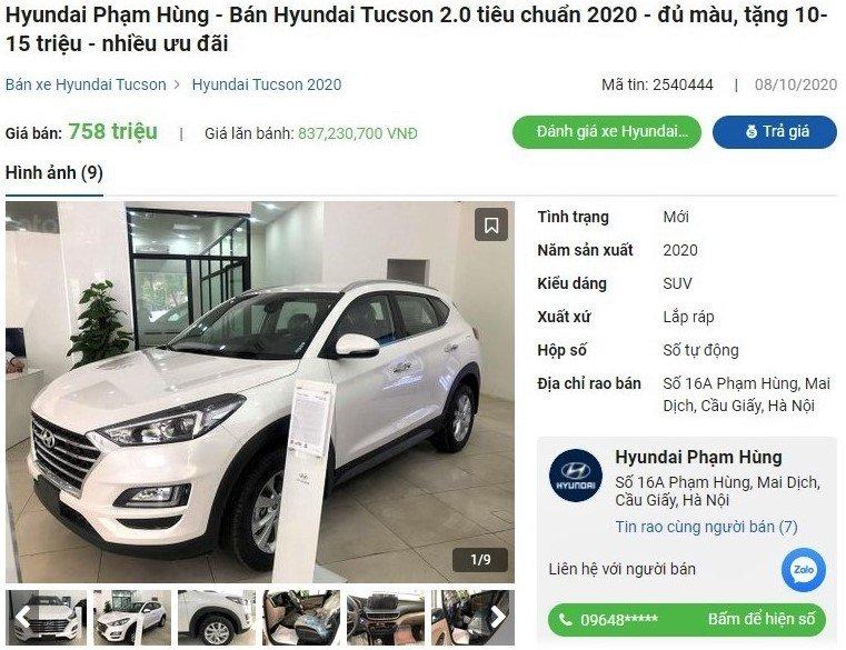 Hyundai Tucson 2020 bản 2.0 MPI Tiêu chuẩn giảm tới 41 triệu đồng 1