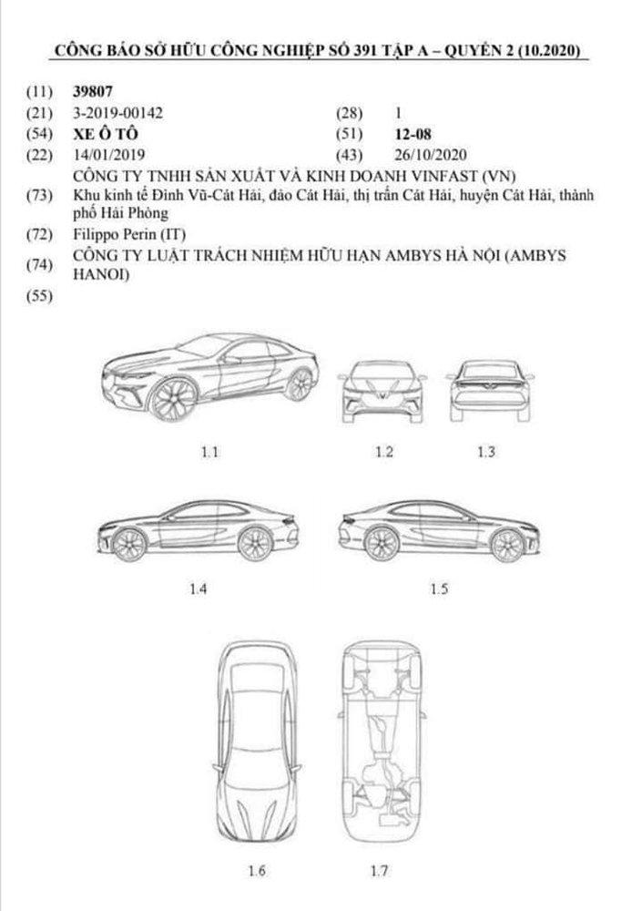 Bản quyền bảo hộ thiết kế sản phẩm của VinFast Lux A2.0 bản 2 cửa.
