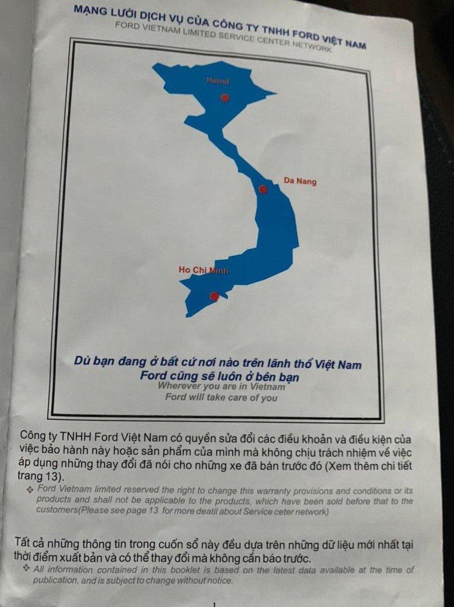 Phát hiện thêm sổ bảo hành xe Ford Explorer sử dụng bản đồ thiếu Hoàng Sa, Trường Sa 1