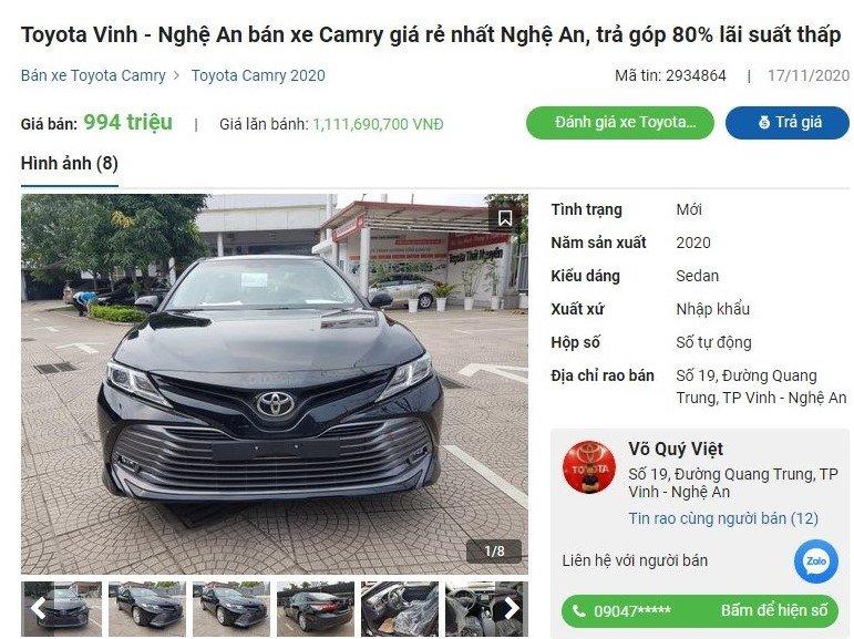 Toyota Camry 2020 giảm 35 triệu đồng tại đại lý a1