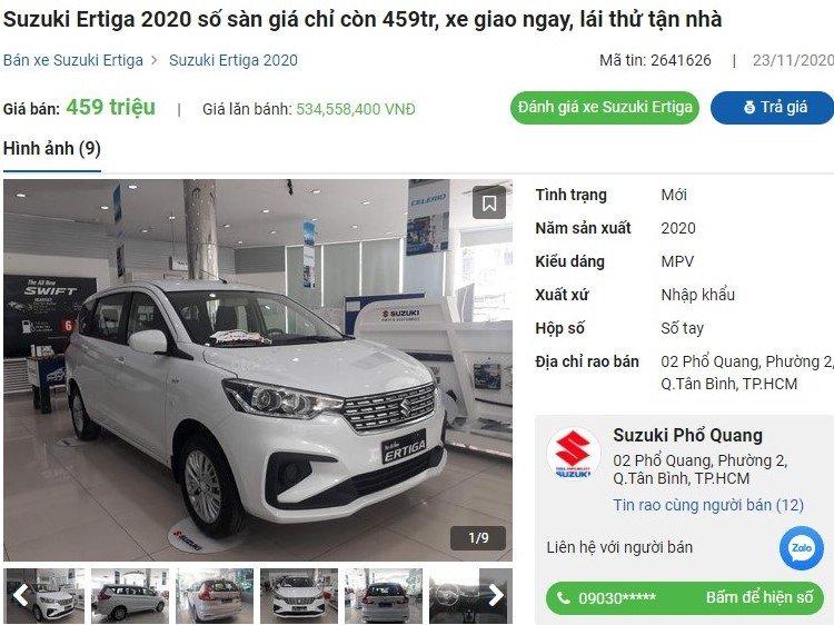 Suzuki Ertiga 2020 giảm giá tại đại lý 1