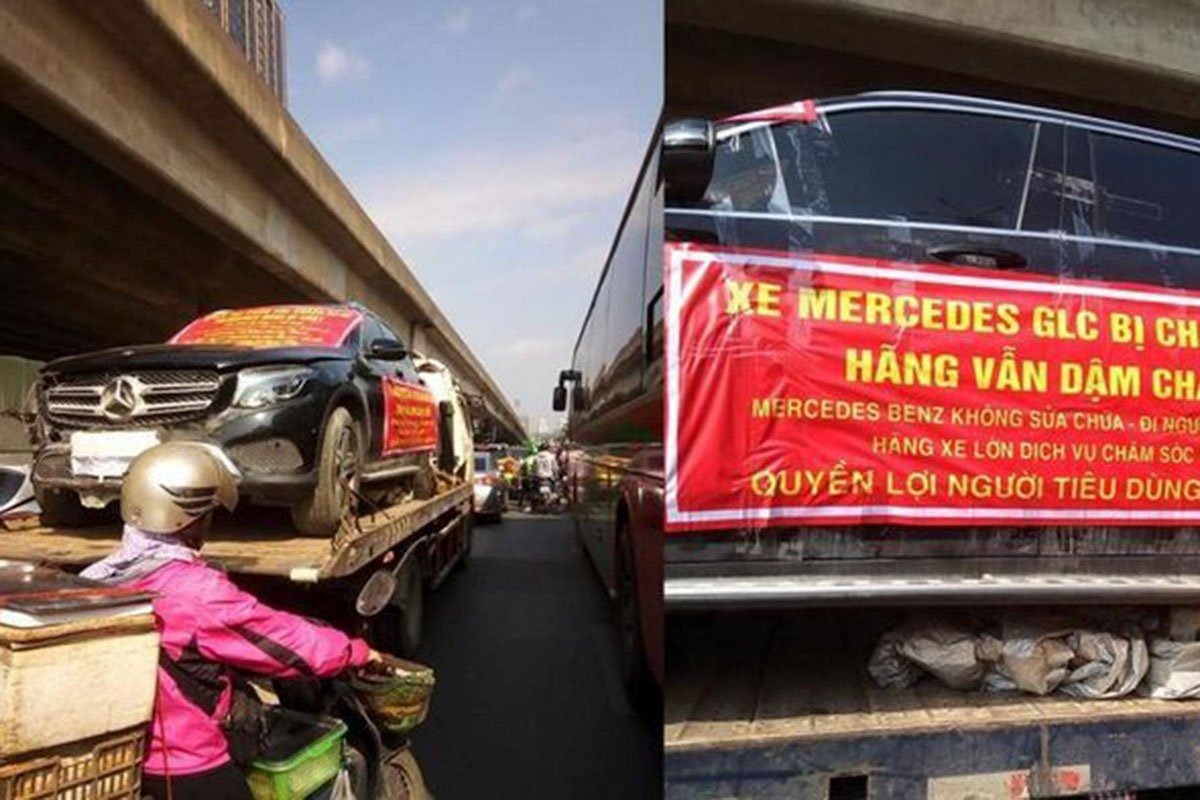 chủ xe đã mang chiếc Mercedes Benz GLC 200 bị hư hỏng đi diễu hành nhiều con phố ở Hà Nội do chưa được giải quyết.