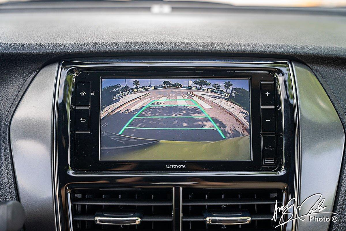 Camera lùi trang bị tiêu chuẩn trên Toyota Yaris 2021.