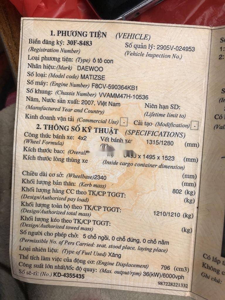 Bán Daewoo Matiz năm sản xuất 2007 còn mới (9)