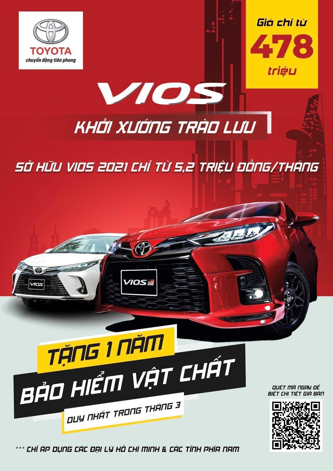 Mua xe Toyota Vios mới chỉ với 95 triệu trả trước 1.