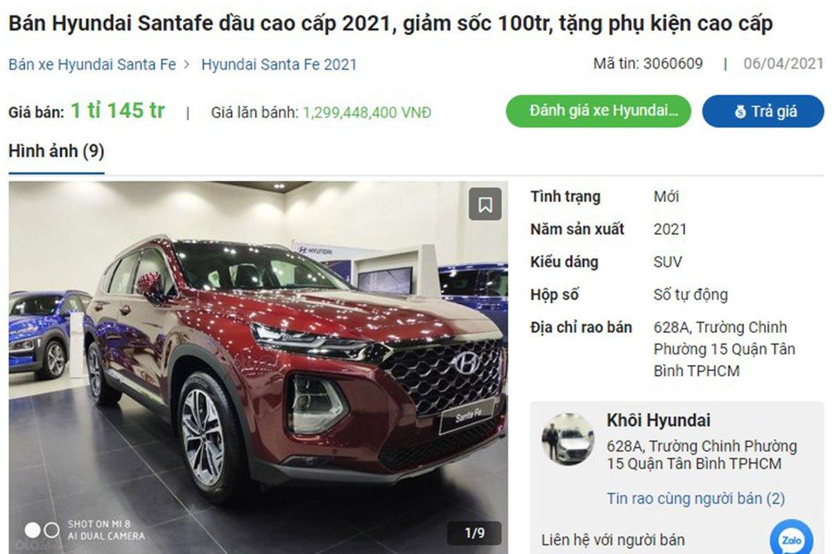Hyundai Santa Fe giảm giá tại đại lý a1
