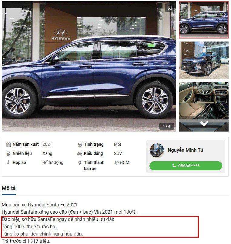 Hyundai Santa Fe ưu đãi lớn tại đại lý - Ảnh 1.