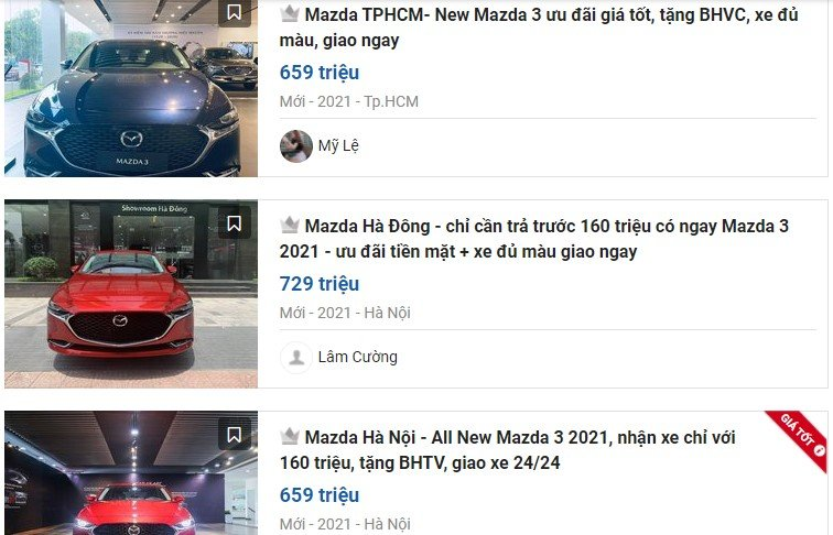 Mazda 3 giảm cao nhất60 triệu đồng 1