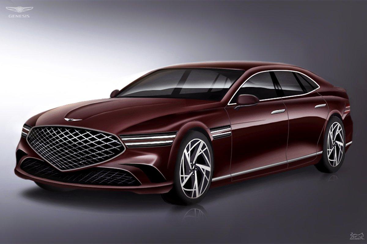 Ngoại thất của Genesis G90 2022 facelift có nhiều thay đổi mới.