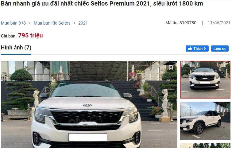 chiếc Seltos Premium 2021 biển Hải Dương có số ODO 1.800 km được rao bán với giá 795 triệu đồng 1