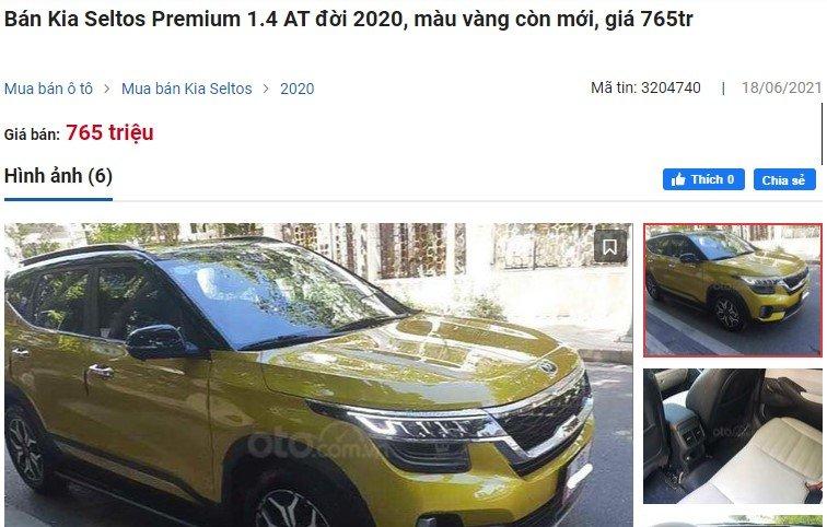 Kia Seltos Premium 1.4 AT đời 2020, màu vàng còn mới đang rao bán vớigiá 765 triệu đồng 1