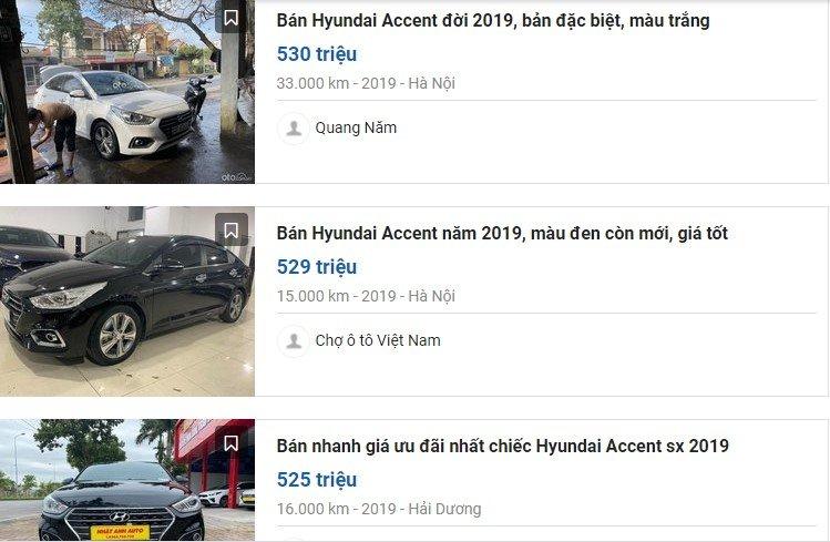 iá chuyển nhượng Hyundai Accent 2019 có ODO 20.000-35.000 km dao động quanh mức 500 triệu đồng 1