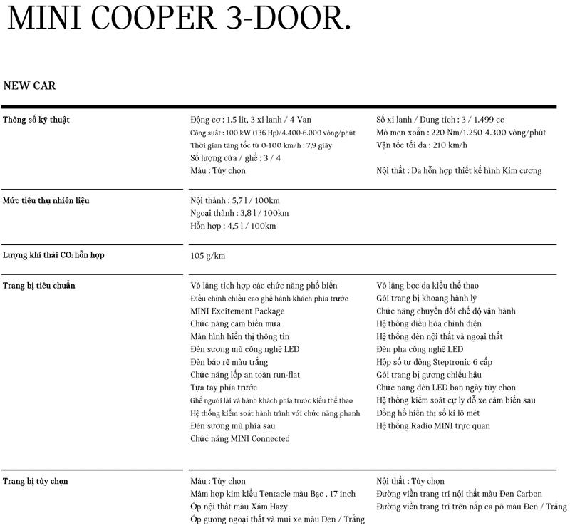 thông số kỹ thuật xe MINI Cooper 3 cửa 2021